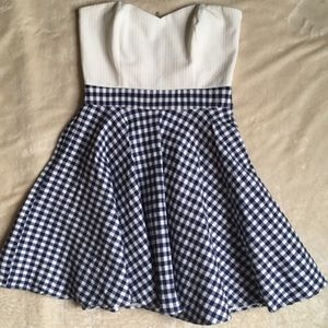 EmmeLee White and Blue Gingham Strapless Dress